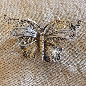 800 Silver filigree Butterfly Gold Silver Vintage